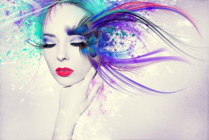 Mooie vrouw, Kunstwerk met inkt in grungestijl royalty-vrije stock afbeelding