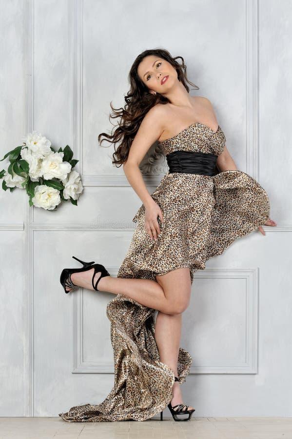 Mooie vrouw in lange luipaardkleding. stock foto