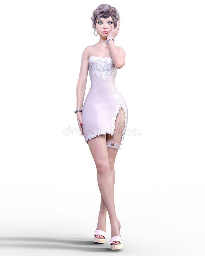 Mooie vrouw in lichte korte kleding stock afbeelding