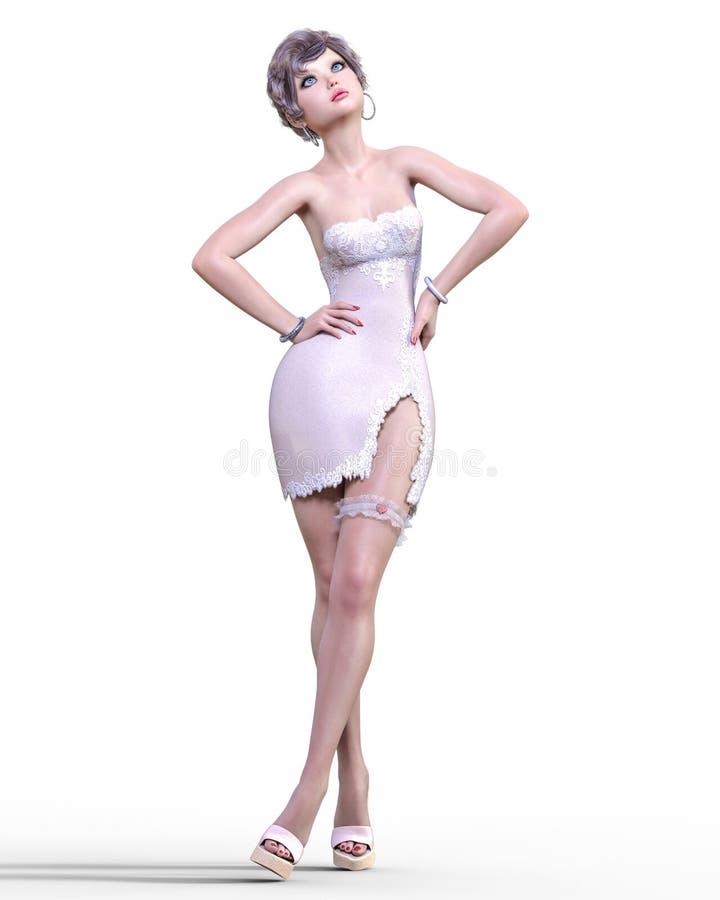 Mooie vrouw in lichte korte kleding stock foto