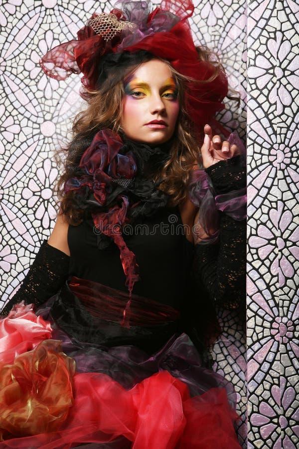 Mooie vrouw met artistieke samenstelling royalty-vrije stock foto's