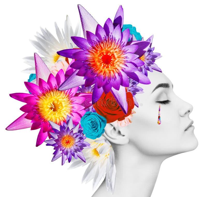 Mooie vrouw met bloeiende bloemen op haar hoofd stock afbeelding