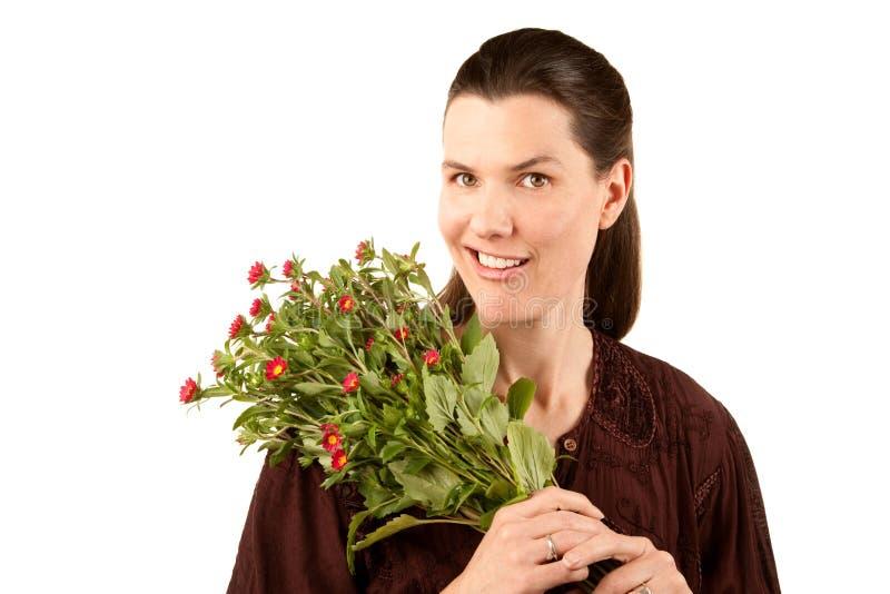 Mooie Vrouw met Bloemen royalty-vrije stock fotografie