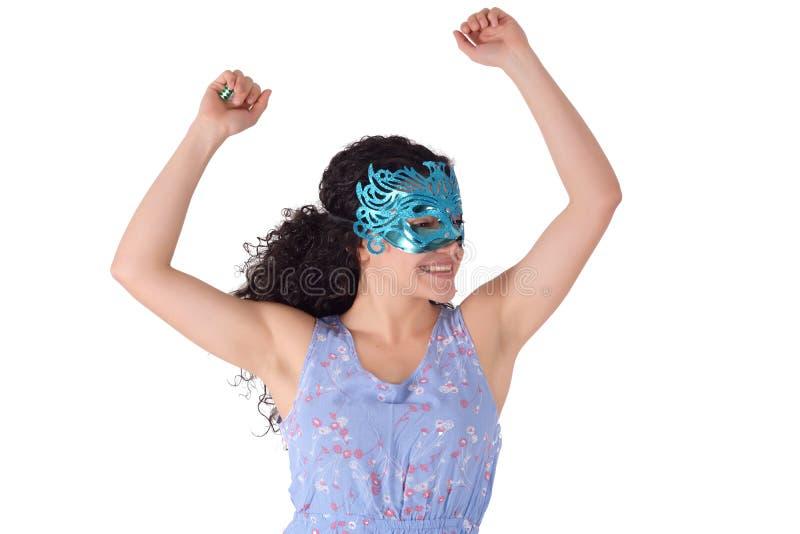 Mooie vrouw met Carnaval masker royalty-vrije stock afbeeldingen