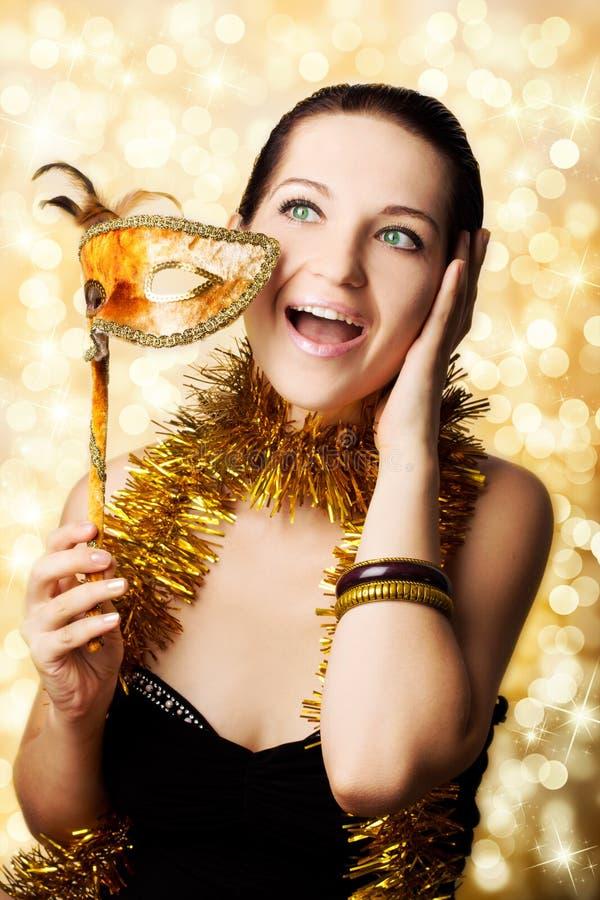 Mooie vrouw met Carnaval masker royalty-vrije stock fotografie