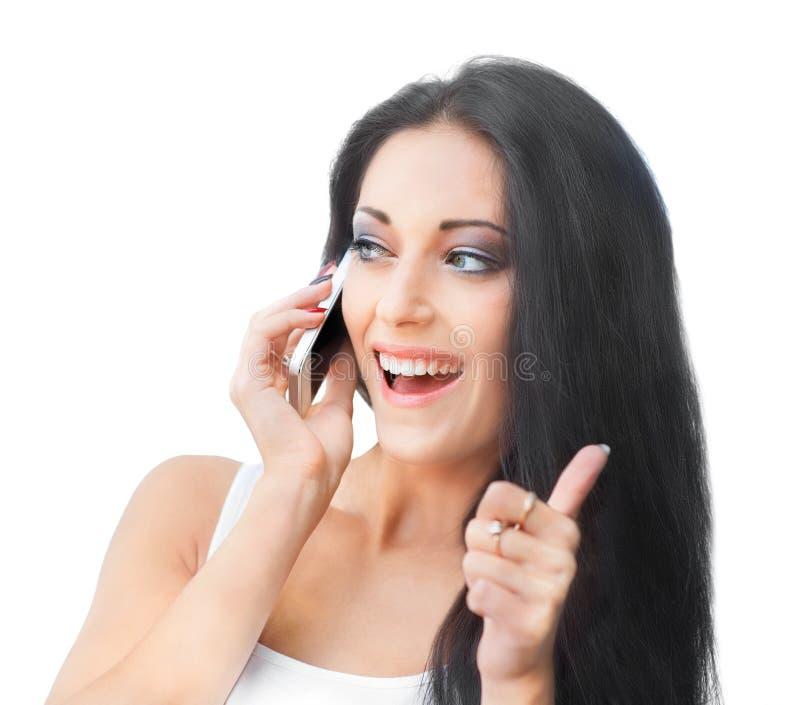 Mooie Vrouw met de Telefoon van de Cel royalty-vrije stock afbeeldingen