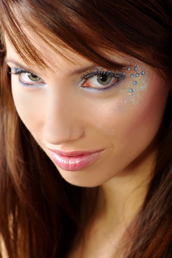 Mooie vrouw met diamant royalty-vrije stock fotografie
