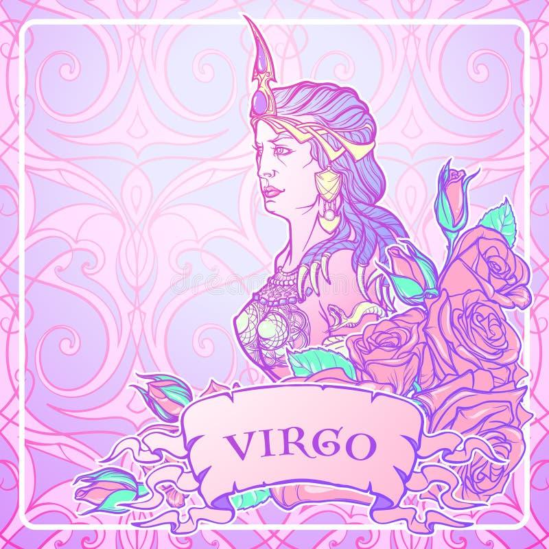 Mooie vrouw met een decoratief bloemkader Naadloze patroonachtergrond De reeks van de de luxestijl van dierenriemart nouveau virg royalty-vrije illustratie