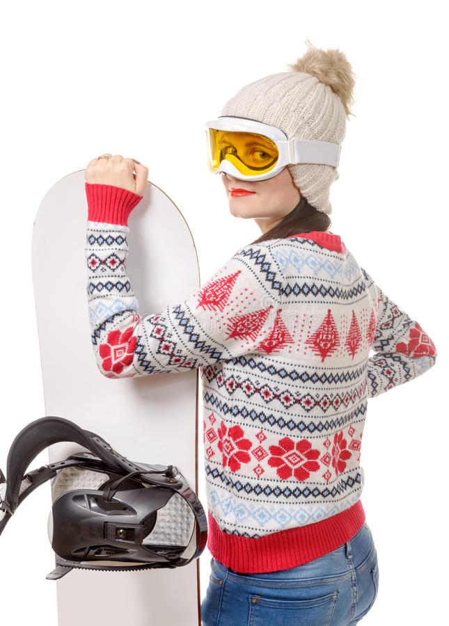 Mooie vrouw met een snowboard in studio royalty-vrije stock afbeeldingen