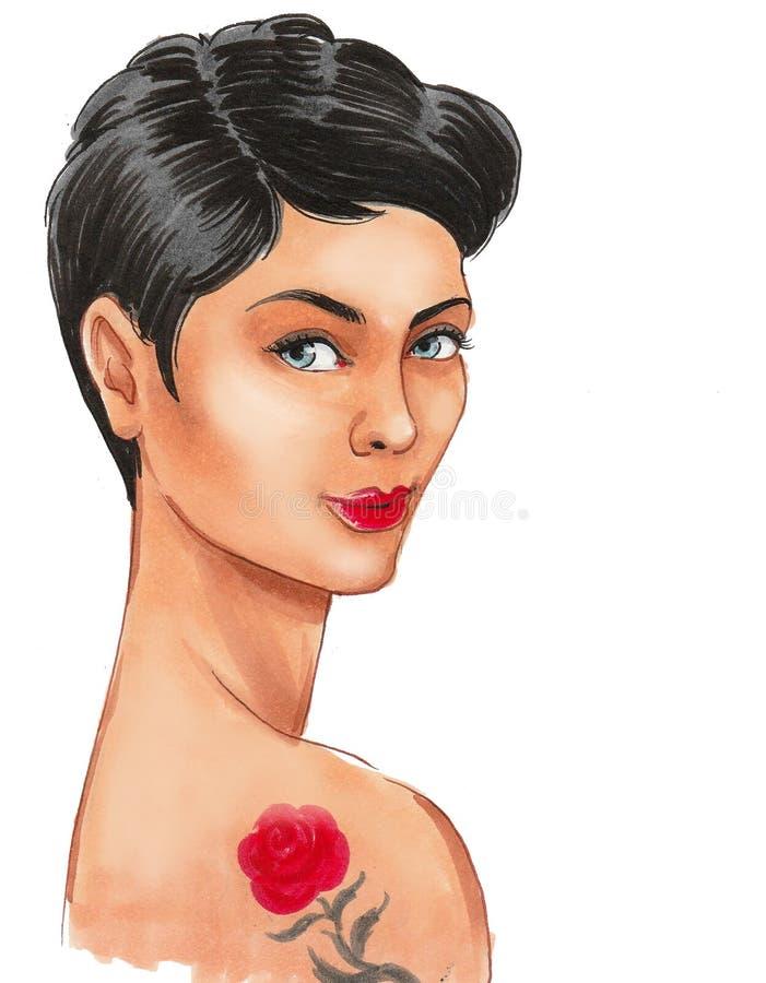 Mooie vrouw met een tatoegering stock illustratie