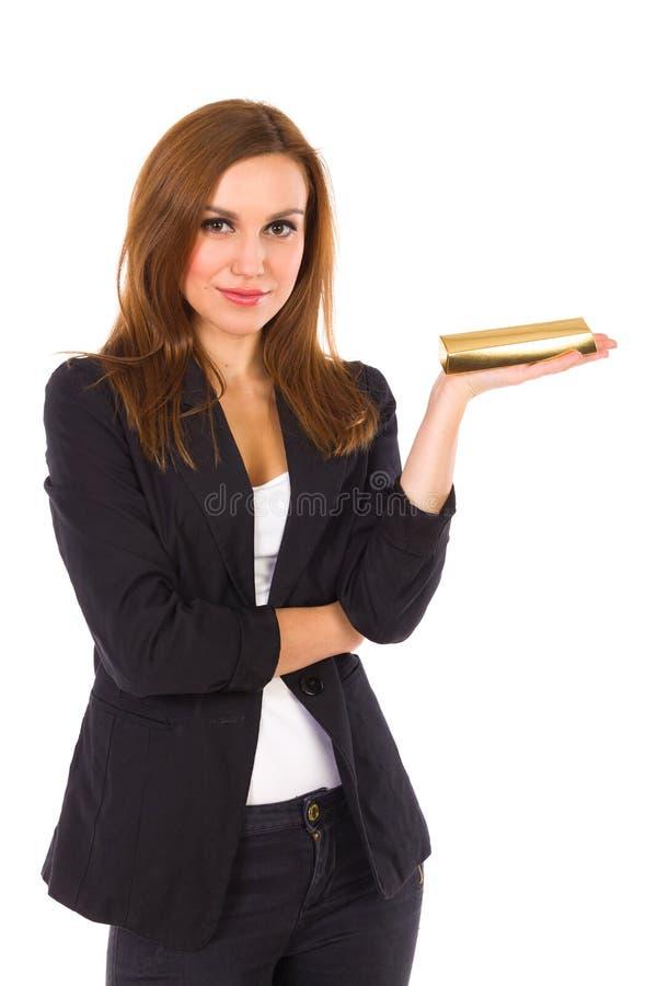 Mooie Vrouw met Gouden Baar. royalty-vrije stock foto's