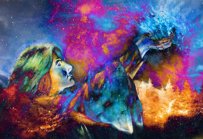 Mooie vrouw met handen die licht, computer grafisch van het schilderen houden Kosmische ruimteachtergrond vector illustratie