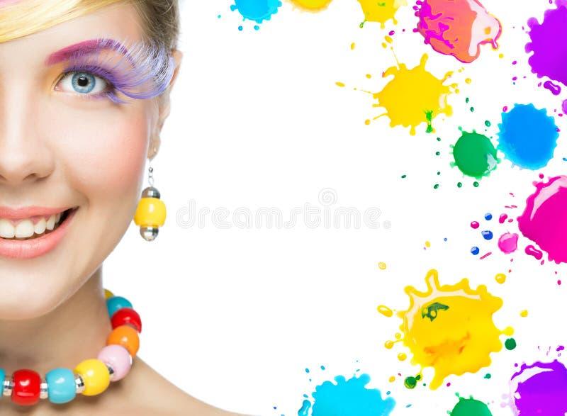 Mooie vrouw met heldere make-up royalty-vrije stock foto's