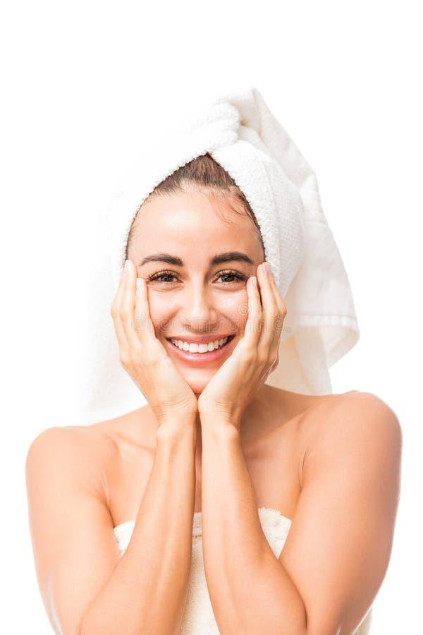 Mooie Vrouw met het Perfecte Huid Glimlachen stock foto