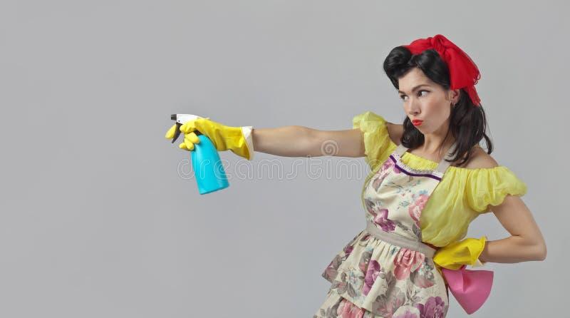 Mooie vrouw met het schoonmaken van toebehoren royalty-vrije stock afbeelding