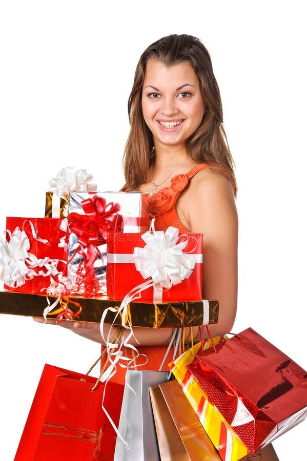 Mooie vrouw met het winkelen zakken royalty-vrije stock foto