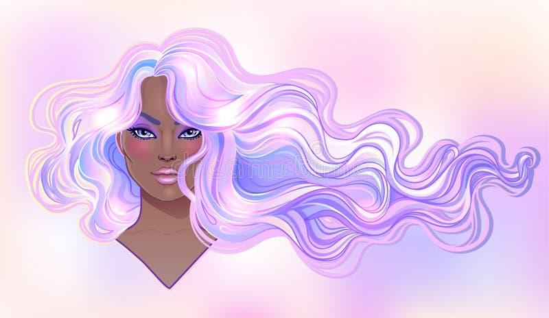 Mooie vrouw met lang golvend purper geverft haar die in w stromen royalty-vrije illustratie