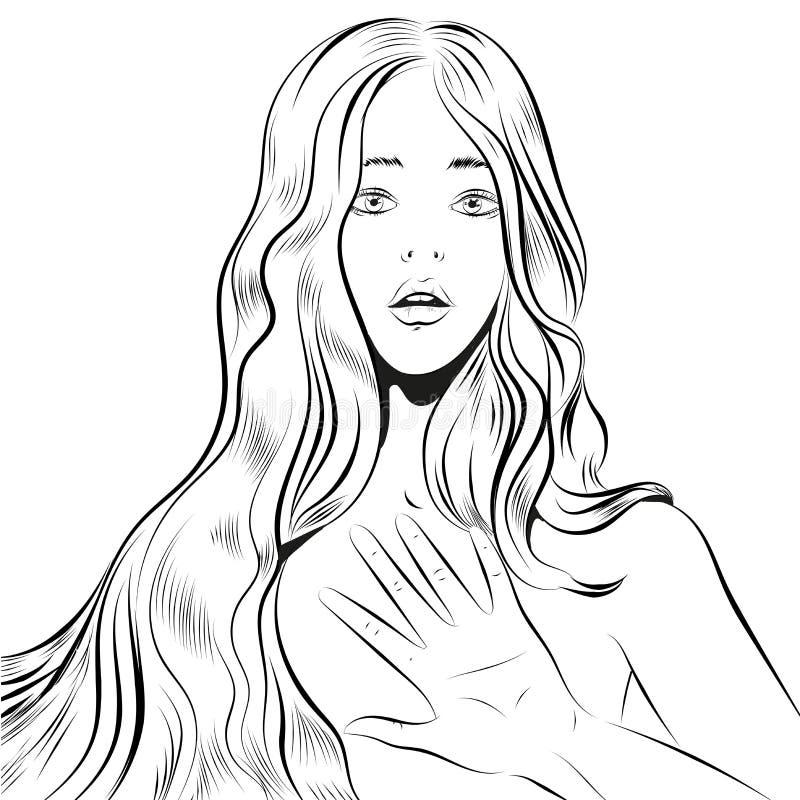 Mooie vrouw met lang haar die de lijnart. qestuing van nr of van het einde royalty-vrije illustratie