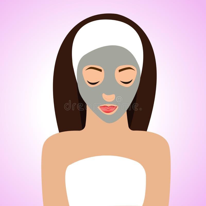 Mooie vrouw met masker voor perfecte huid stock illustratie