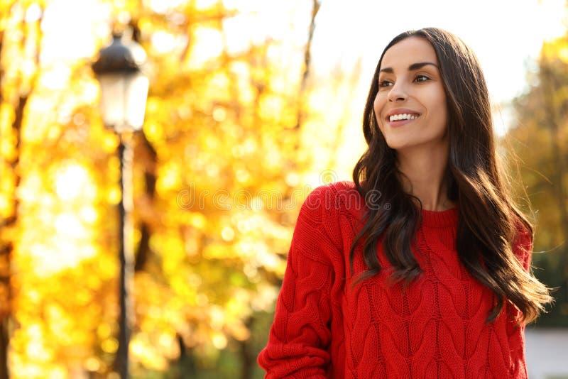 Mooie vrouw met rode trui in een zonnig park Najaarswandeling royalty-vrije stock foto's