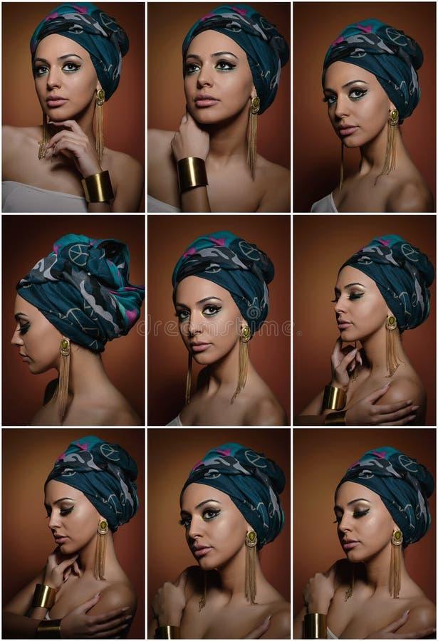 Mooie vrouw met tulband Jong aantrekkelijk wijfje met tulband en gouden toebehoren Schoonheids modieuze vrouw royalty-vrije stock fotografie