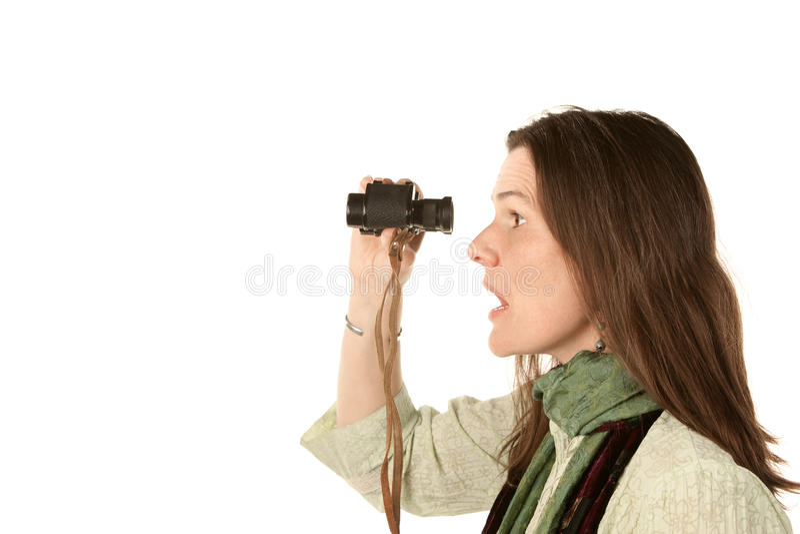 Mooie vrouw met verrekijkers stock afbeelding