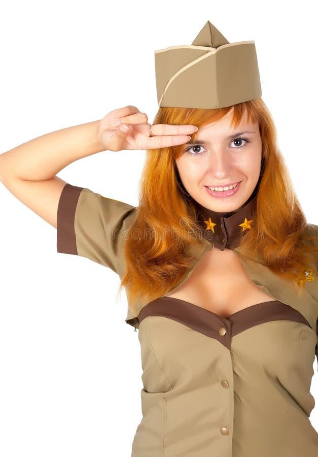 Mooie vrouw in militaire eenvormig stock foto