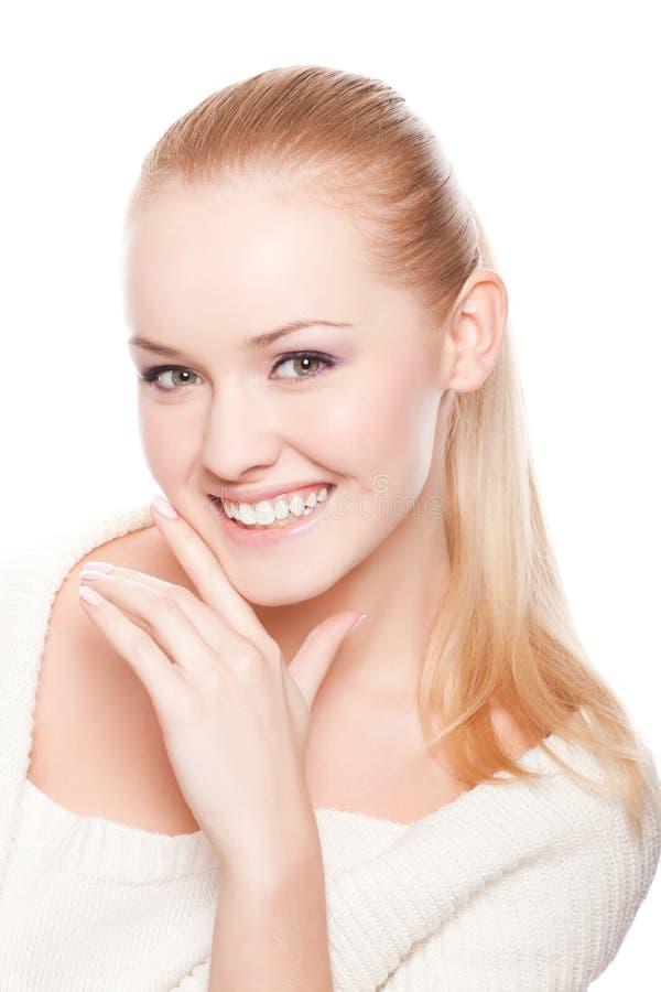 Mooie vrouw op wit stock fotografie