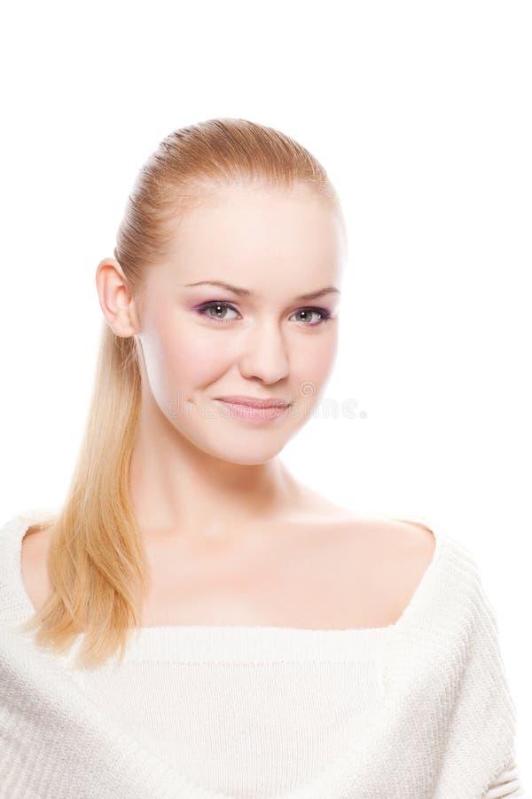 Mooie vrouw op wit royalty-vrije stock afbeeldingen
