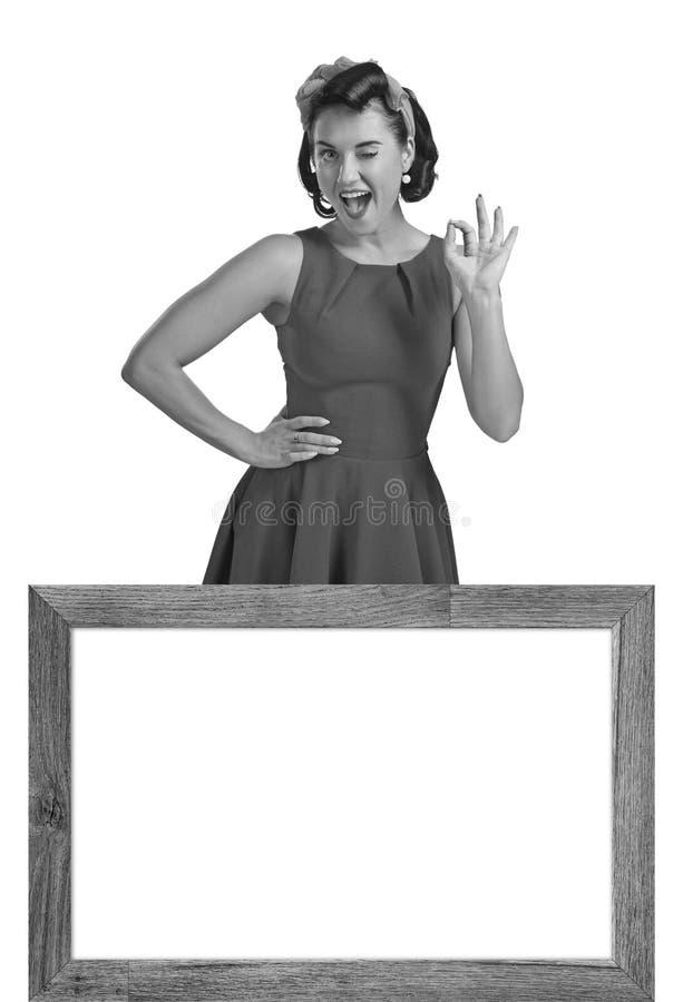 Mooie vrouw in retro stijl stock foto