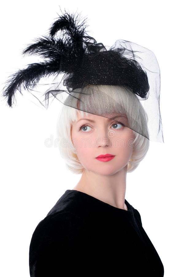 Mooie vrouw in retro stijl royalty-vrije stock foto