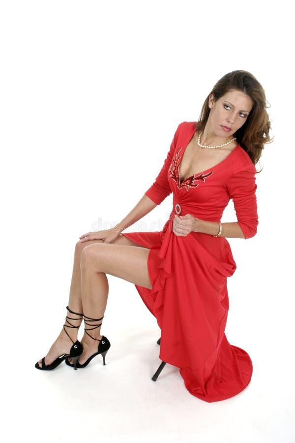 Mooie Vrouw in Rode Kleding 3 royalty-vrije stock fotografie