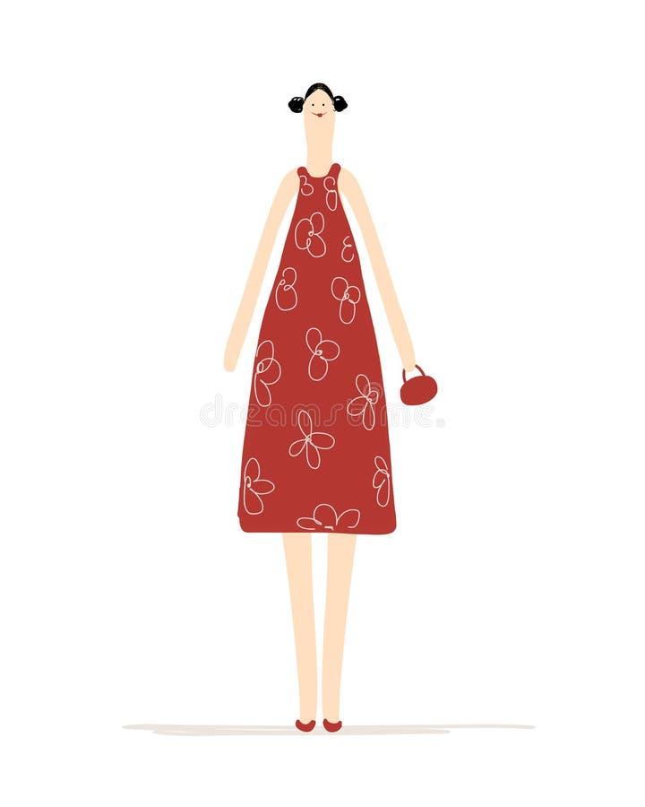 Mooie vrouw in rode kleding voor uw ontwerp vector illustratie