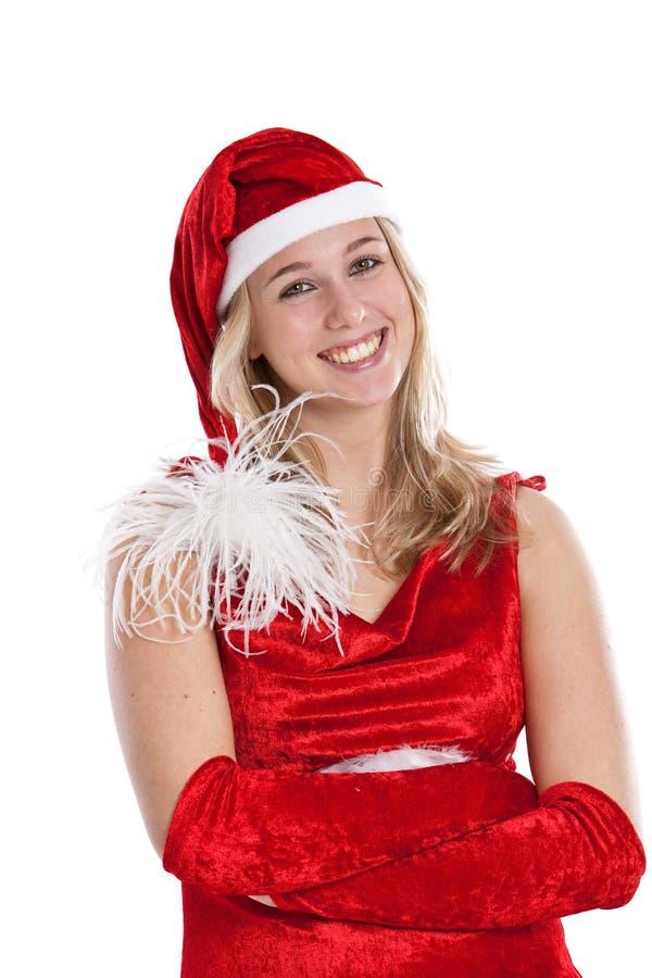 Mooie vrouw in santauitrusting royalty-vrije stock fotografie