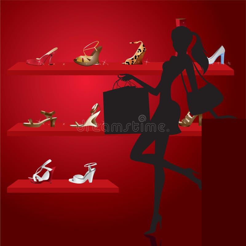 Mooie vrouw in schoenwinkel stock illustratie