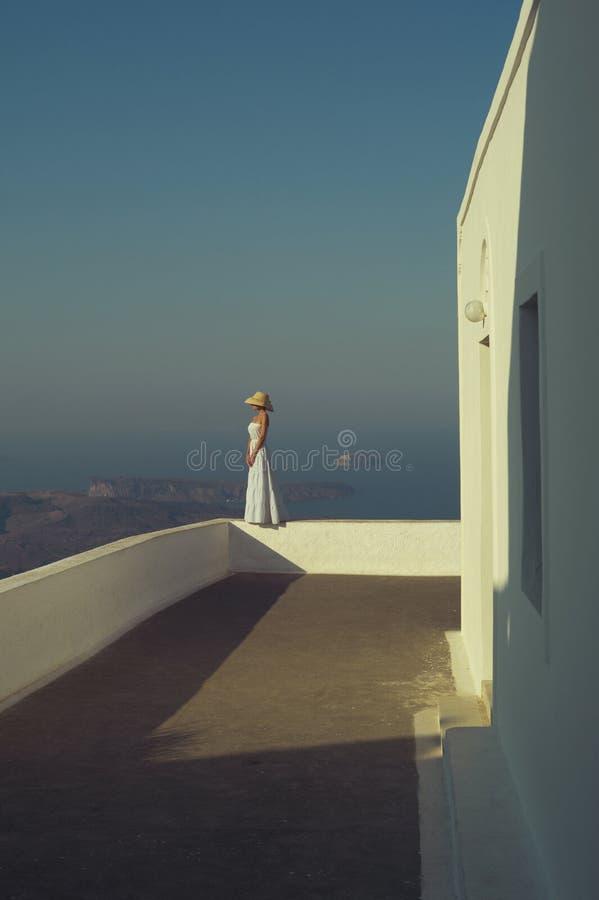 Mooie vrouw in strohoed stock afbeeldingen