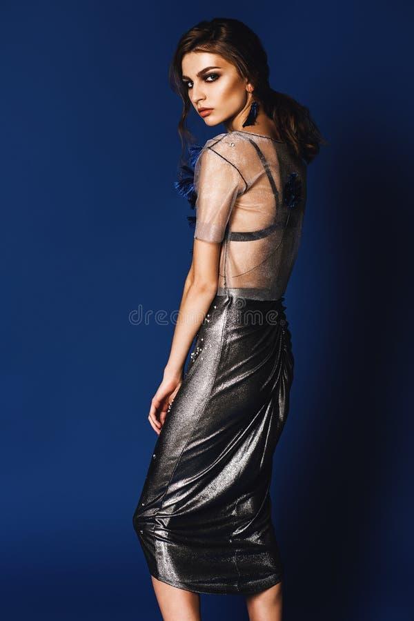 afab433d2a0ca8 Download Mooie Vrouw In Transparante Zilveren Hoogste En Lange Zilveren Rok  Stock Foto - Afbeelding Bestaande Sc 1 St Dreamstime