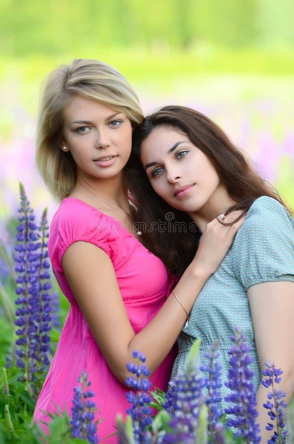Mooie vrouw twee op gebied met lupine royalty-vrije stock afbeeldingen