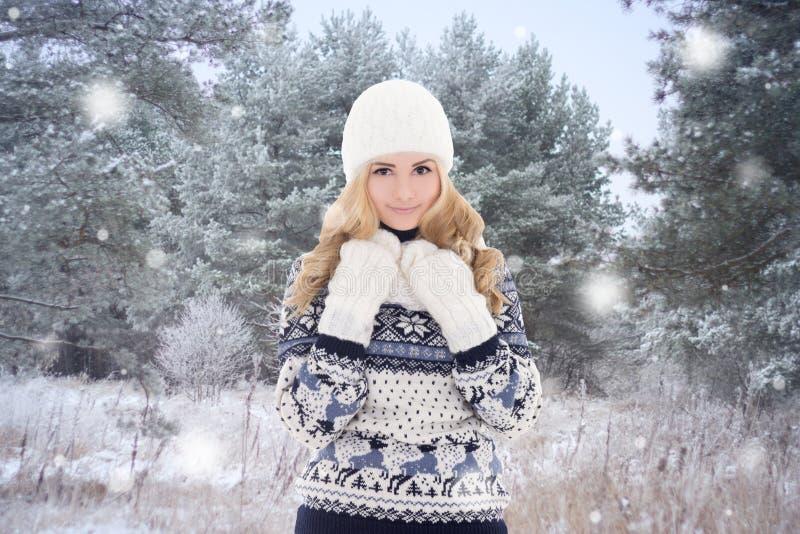 Mooie vrouw in warme kleren die in de winterpark stellen royalty-vrije stock fotografie