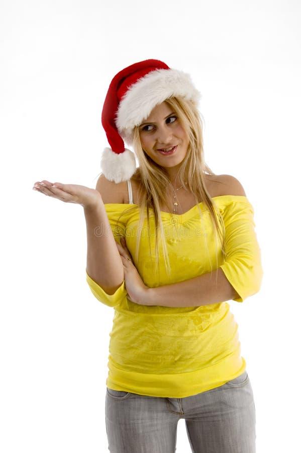 Mooie vrouwelijke dragende Kerstmishoed stock fotografie