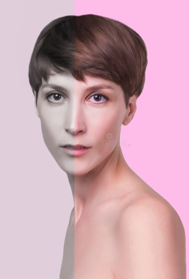Mooie vrouwelijke gezichts dichte omhooggaand portret van jong model bij studio op wit royalty-vrije stock afbeeldingen
