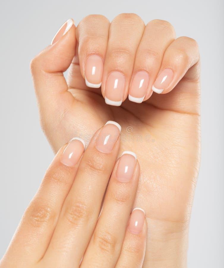 Mooie vrouwelijke handen Vrouwenhanden met mooie Franse manicure, spijkers stock fotografie