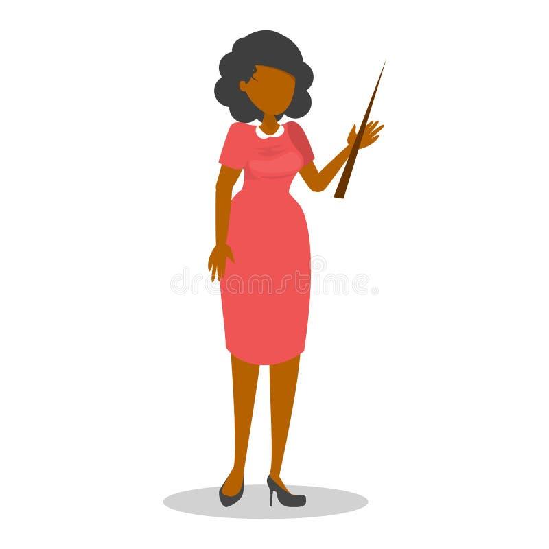 Mooie vrouwelijke leraar in de rode kleding met wijzer royalty-vrije illustratie