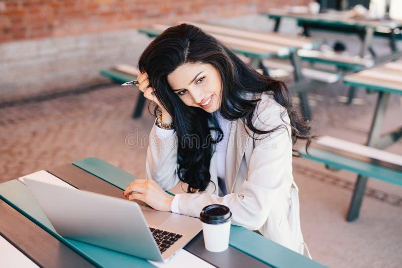 Mooie vrouwelijke onderneemster met de donkere lange pen van de haarholding in h royalty-vrije stock afbeeldingen