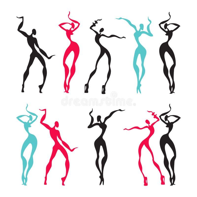 Mooie Vrouwen Dansende silhouetten vector illustratie