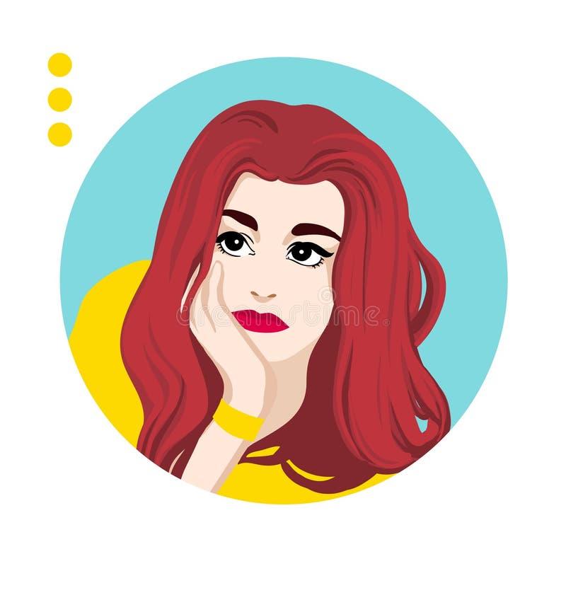 Mooie vrouwen die worriedly kijken Vrij jong meisje die met lang rood haar over iets denken Het leuke portret van het meisjesgezi vector illustratie