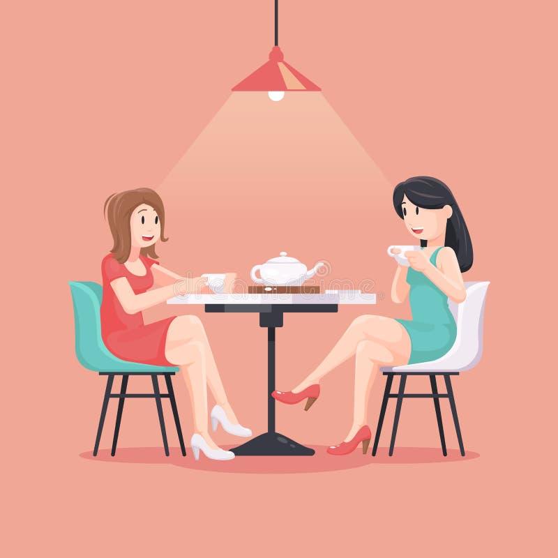 Mooie vrouwen in een koffieillustratie in pastelkleuren meisjes Het art. van het vriendschapsconcept De affiche van de vriendscha stock illustratie