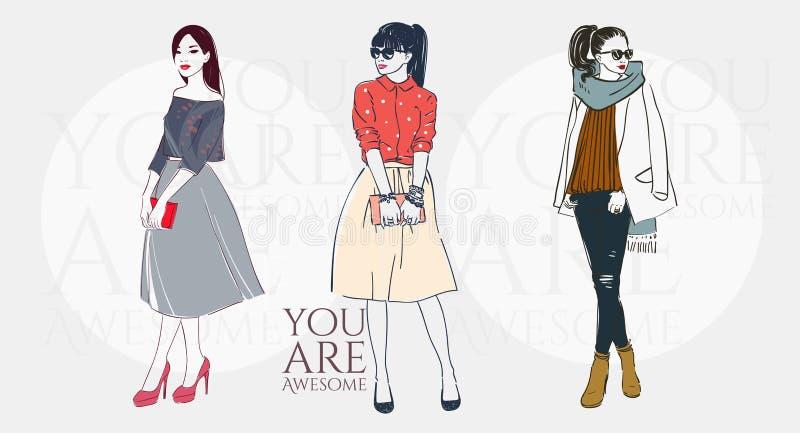 Mooie vrouwen in een manier retro kleren in glazen met zak Vector hand getrokken illustratie stock illustratie