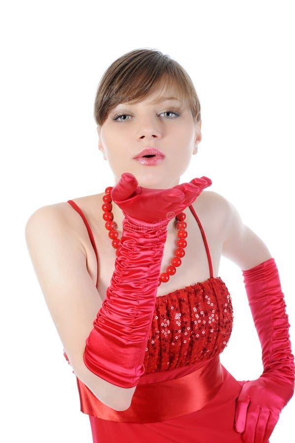 Mooie vrouwen in het rood. royalty-vrije stock afbeeldingen