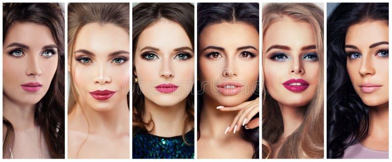 Mooie Vrouwen met Perfecte Make-up Schoonheidscollage, Leuke Gezichten royalty-vrije stock afbeeldingen